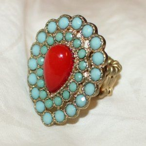 Faux Turquoise Coral Stretch Ring one size
